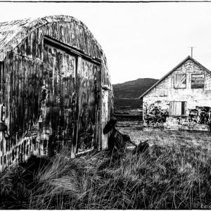 Péninsule de Snæfellsnes à l'ouest du Borgarfjörður Islande. Fjords du Nord-Ouest route nationale 54 maison hangar
