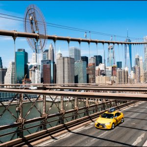Sur le pont de Brooklyn, New York, USA