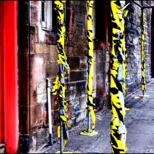Piliers de travaux à Edimbourg (Ecosse)